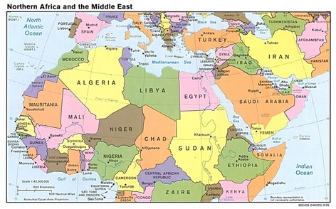 Political Map of North Africa and south west asia   Mrs. Moore KHS